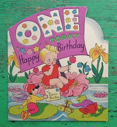 Vintage First Birthday Card Baby Age 1 One Childrens Greetings Card… First Birthday Cards, Happy Birthday Girls, Vintage Birthday Cards, Baby 1st Birthday, Happy Birthday Greetings, Vintage Greeting Cards, Vintage Postcards, First Birthdays, Birthday Wishes