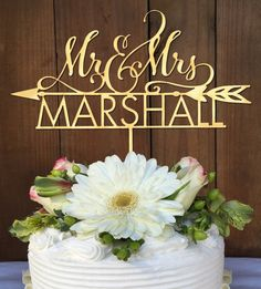 Mr & Mrs Custom Cake Topper with Arrow Cake Topper Rustic