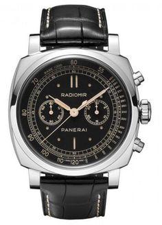 Panerai Radiomir 1940 Cronografo Negro Marcar Negro Strap hombres reloj
