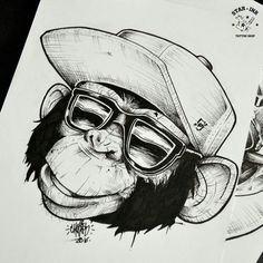 faces of Sedd Tattoo Sketches, Tattoo Drawings, Drawing Sketches, Art Drawings, Graffiti Art, Body Art Tattoos, Sleeve Tattoos, Monkey Art, Monkey Drawing