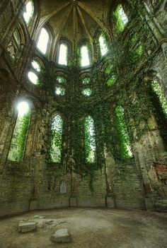 Abandoned castle -- inspiration for the chapel in the Manor. May have pinned this already.