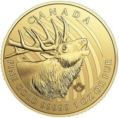 """2017 1 oz Pure Gold """"Call of the Wild"""" Elk Royal Canadian Mint Gold Krugerrand, Gold And Silver Coins, Mint Gold, Purple Gold, Gold Rush, Gold Bullion Bars, Bullion Coins, Canadian Gold Coins, Gold Stock"""