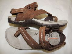 MERRELL Dark Earth leather sandals brown thong style shoes size 8  L@@K! #Merrell #Strappy