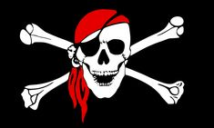 pirate flag skull with red bandana