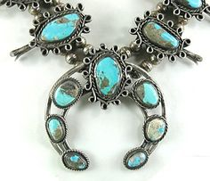 vintage sterling silver and turquoise Squash Blossom Necklace 26 inch