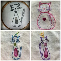 these cute cat embroideries are very simple pattern consisting mainly of backstitch (although you could use all kinds of other stitches if you like). The cats would look lovely framed in a hoop or embroidered onto a little bag or phone case. You could even enlarge them and make them into cushions. In fact you could stitch them anywhere you might need a colourful kitty  All four cats fit neatly into a 5 hoop but you can enlarge them if you prefer  This is a pdf hand embroidery pattern. The…