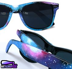 Sunglasses - Space Galaxy Nebula Custom Wayfarer style sunglasses '80s retro hand painted