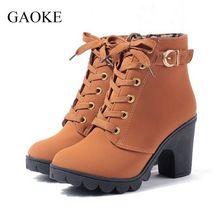 2016 Nova Outono Inverno Mulheres Botas de Alta Qualidade Sólidos Lace-up Senhoras Europeus sapatos de Couro PU Botas de Moda Livre grátis(China (Mainland))