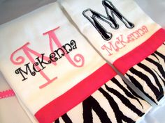 Set of 2 personalized burp cloths zebra and pink