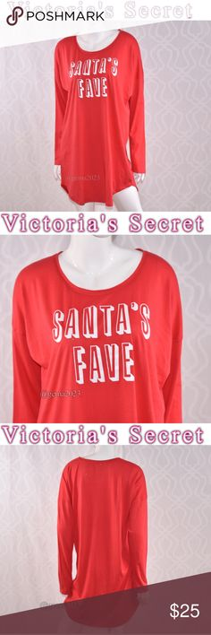 Victoria's Secret Sleep long sleeve Tee New! L Santa's Fave  New!With tag  Your favorite sleepshirt is supersoft, lightweight and washed to perfection, here with a scoopneck and front graphics. Slightly oversized Lightweight Soft and stretchy Victoria's Secret Intimates & Sleepwear Pajamas