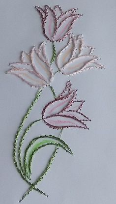 Latest Trend in Paper Embroidery - Craft & Patterns Embroidery Cards, Hand Embroidery Flowers, Hand Work Embroidery, Flower Embroidery Designs, Simple Embroidery, Hand Embroidery Stitches, Crewel Embroidery, Embroidery Kits, Cross Stitch Embroidery