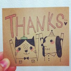 Random thank you note card for lovely buyer. Thanks :))) #minifanfan #meow #cat #cute #dog #drawing #thankyou