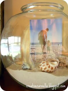 Been searching for ideas/crafts to do with our yearly collection of shells -and I just love this!.