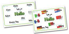 Mixed Language Hello Display Signs - Hello sign, hola, ola, Guten Tag, bonjour, salut, hello, language, differernt languages