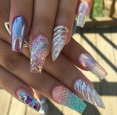 Trendy nails, summer acrylic nails designs, bling acrylic nails, acrylic to Chunky Glitter Nails, Bling Acrylic Nails, Summer Acrylic Nails, Acrylic Toes, Stiletto Nails, Crazy Acrylic Nails, Summer Nails, Ongles Bling Bling, Bling Nails