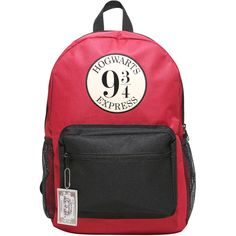 WB Harry Potter Platform 9 34 Backpack ($35) ❤ liked on Polyvore featuring bags, backpacks, harry potter and red