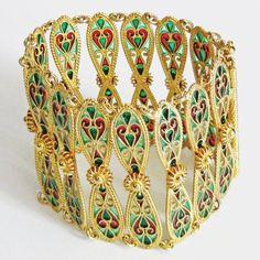 Antique Plique a Jour Bracelet Sterling Enamel Norway Johan Gustav Kjaerland