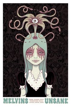 "Tara McPherson - Melvins, Unsane 5 Color Screenprint 24"" x 36"" Edition of 200 2012"