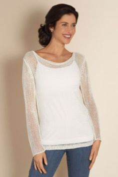 Seaside Sweater I - Lightweight Pullover, Open-weave Knit, Cowl Neckline | Soft Surroundings