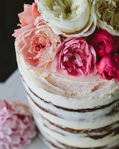 Flourless Raspberry white chocolate + pistachio naked layer cake baked with love -- :@josettephotographer from a styled shoot with @wholeheartedstudio