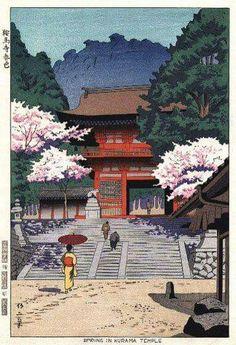 Takeji Asano: 'Spring at Kurama Temple', 1953 [published by Unsodo] Japanese Drawings, Japanese Prints, Japan Art, Japan Japan, Japanese Woodcut, Art Asiatique, Japanese Illustration, Art Japonais, Japanese Painting