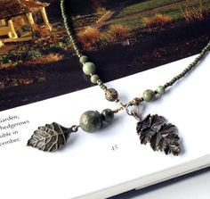 Beaded bookmark, leaf book thong, green stones & glass beads. $16.00, via Etsy.