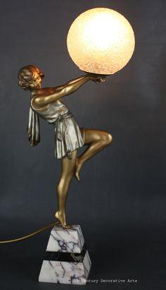 "An Art Deco spelter figure lamp by Carlier, ""Bubble Dancer"" France c1930"