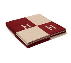 """Avalon Hermes signature H blanket in ecru/red. 85% wool, 15% cashmere. Measures 87"""" x 102""""."""