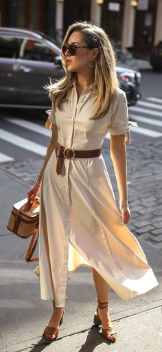 end of summer work outfits Tan Sandals Outfit, Brown Belt Outfit, Summer Work Outfits, Summer Dresses, Winter Mode, Curvy Outfits, Look Chic, Ladies Dress Design, Work Fashion
