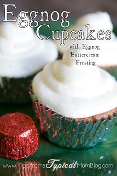 Easy Eggnog Cupcake Recipe with Eggnog Butter Cream Frosting – Tips from a Typical Mom - Cupcakes Köstliche Desserts, Holiday Baking, Christmas Desserts, Christmas Baking, Delicious Desserts, Christmas Drinks, Christmas Treats, Christmas Brunch, Cupcake Recipes
