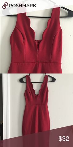 Low cut red dress Beautiful radiant color red, low cut cleavage, long pencil skirt (to the knees) perfect for holiday parties/valentines etc. Never worn, no tags ! Lulu's Dresses Midi