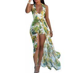 Maxi Playsuit, Romper Dress, Dress Skirt, Beach Playsuit, Halter Jumpsuit, Jumpsuit Pattern, Luau Outfits, Dress Plus Size, Romper With Skirt