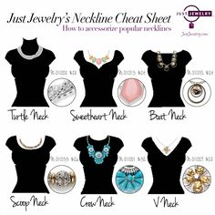 Confused on which necklace to wear with which neckline? Yeah, us too! Check out our new clever cheat sheet. It provides a starting point to gauge what type of necklace looks good with which type of neckline!