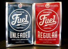 Fuel Coffee, in the choices of Unleaded and Regular. #packaging #design