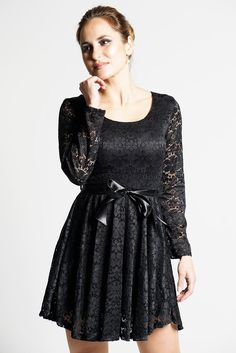 Black Floral Lace Womens Skater Dress