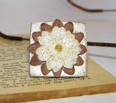 Champagne Color Square Floral Artwork Shell Ring by ArtLery, $14.00