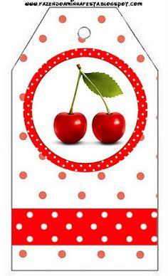 LARGE PRINTABLE SET Cereja Vermelha – Kit Completo com molduras para convites, rótulos para guloseimas, lembrancinhas e imagens!   Fazendo a Nossa Festa