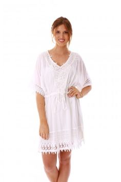 4bac4a7d5e3a8 The Chantilly White Kaftan is a delicate print with soft cotton finish and  created from gorgeous