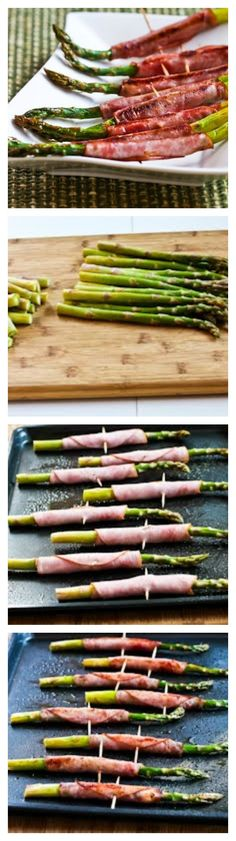 Roasted Asparagus Wrapped in Ham is the perfect low-carb holiday appetizer.  This is easy to make and deliciously healthy! #LowCarb #GlutenFree