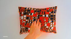 Pillow cover vintage fabric Orange black white red by bubyNoa, $29.00