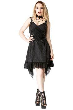 35,66e koko L Jawbreaker Darkest Night Gothic Dress, Black Brocade Mid Length Dress