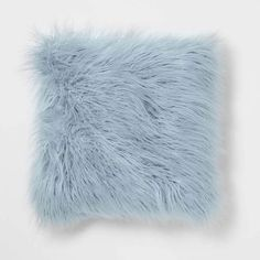 Bring dimension and texture to your space with the Mongolian Faux Fur pillow. This fluffy pillow creates chic yet cozy ambiance. Mongolian Faux Fur is on trend and will instantly add a glamorous touch to your room. Fluffy Pillows, Blue Pillows, Light Blue Throw Pillows, Dorm Pillows, Kids Pillows, Light Blue Rooms, Marble Tapestry, Blue Bedroom Decor, Bedroom Ideas