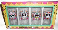 Day of the Dead Skull Glass Hiball Glasses Set of 4 Sugar Skulls http://www.amazon.com/dp/B00ALMW56O/ref=cm_sw_r_pi_dp_WwX6tb157B7QG