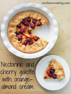 Nectarine and cherry galette with orange-almond cream