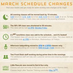Schedule Changes that happened in March 2014... #yoga #rayoga #stayuptodate