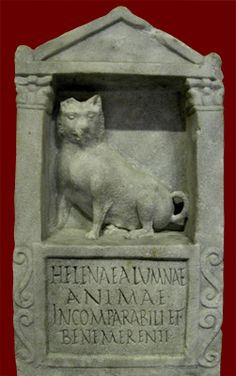 "marble tombstone of Helena; Roman, 150-200 CE  The inscription reads ""To Helena, foster-child [alumna], well-deserving and incomparable soul."" Although the language suggests a human foster-child, only a dog is carved on the stone, so a wealthy family may have set up this stone to commemorate a beloved pet that they thought of as a member of the family.  Getty Villa"