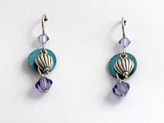 Sterling silver small Hot Air Balloon w/shell dangle Earrings-balloons,flying