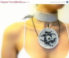 SALE 40% OFF Beaded Crochet Wedding Choker Necklace by JustColor