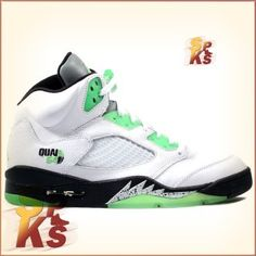 the best attitude a14fa ba0e8 Air Jordan 5 (V) Retro Quai 54 White   Black-Metallic Silver-Radiant Green  467827-105