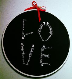 Skeleton Love: hand embroidery by hEisK, via Flickr